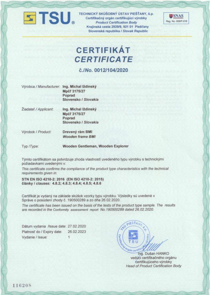 Certifikat zhody - Wooden Gentleman, Wooden Explorer
