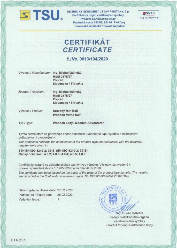 Certifikat zhody - Wooden Lady, Wooden Adventurer