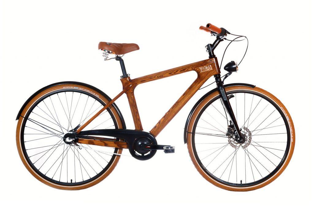 Mestský pánsky drevený bicykel BIKEMI Wooden Gentleman brown hnedý