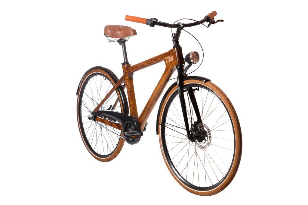 Mestský pánsky drevený bicykel BIKEMI Wooden Gentleman brown hnedý detail 2