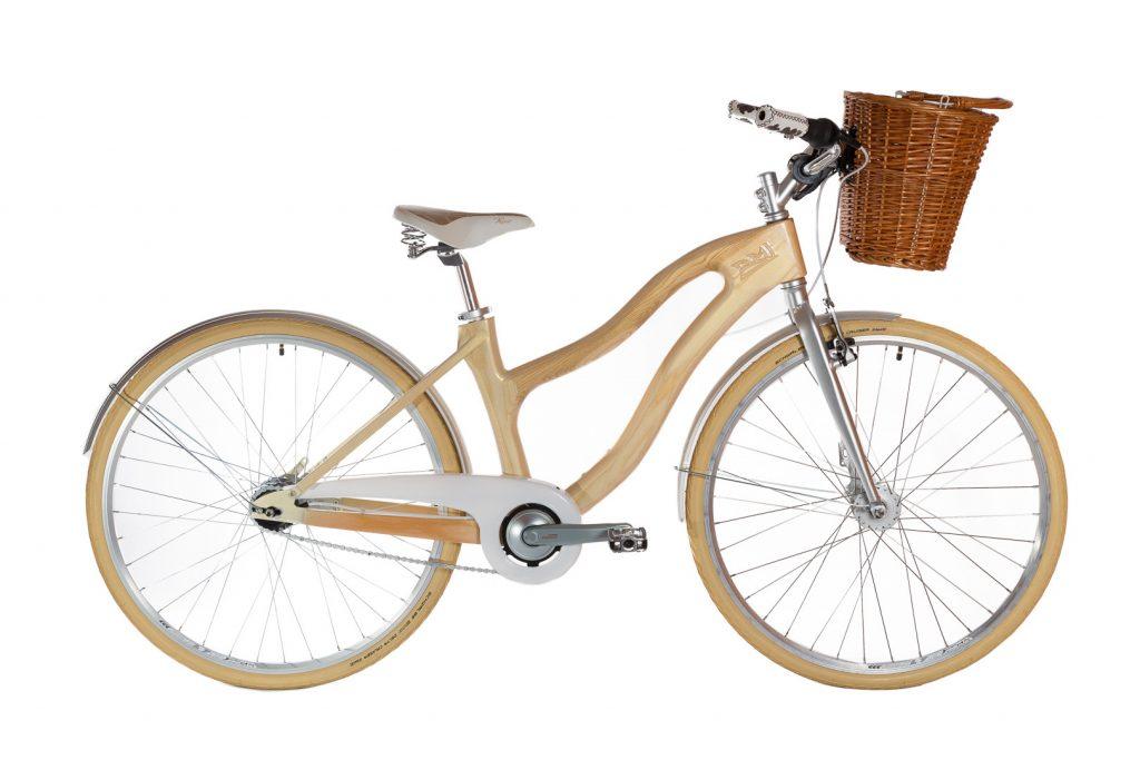 Mestský dámsky drevený bicykel BIKEMI Wooden Lady Gold-7 svetlý