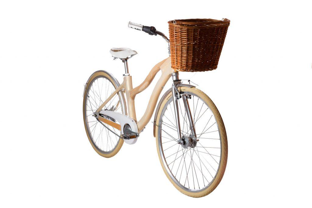 Mestský dámsky drevený bicykel BIKEMI Wooden Lady Gold-7 svetlý detail2