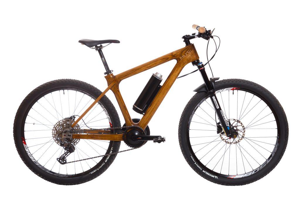 Horský drevený elektrický bicykel BIKEMI Wooden Explorer D.Brown 27,5 E-Bike