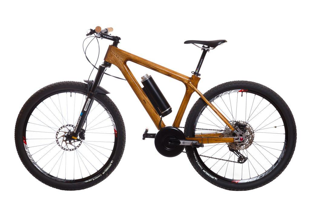 Horský drevený elektrický bicykel BIKEMI Wooden Explorer D.Brown 27,5 E-Bike detail 1