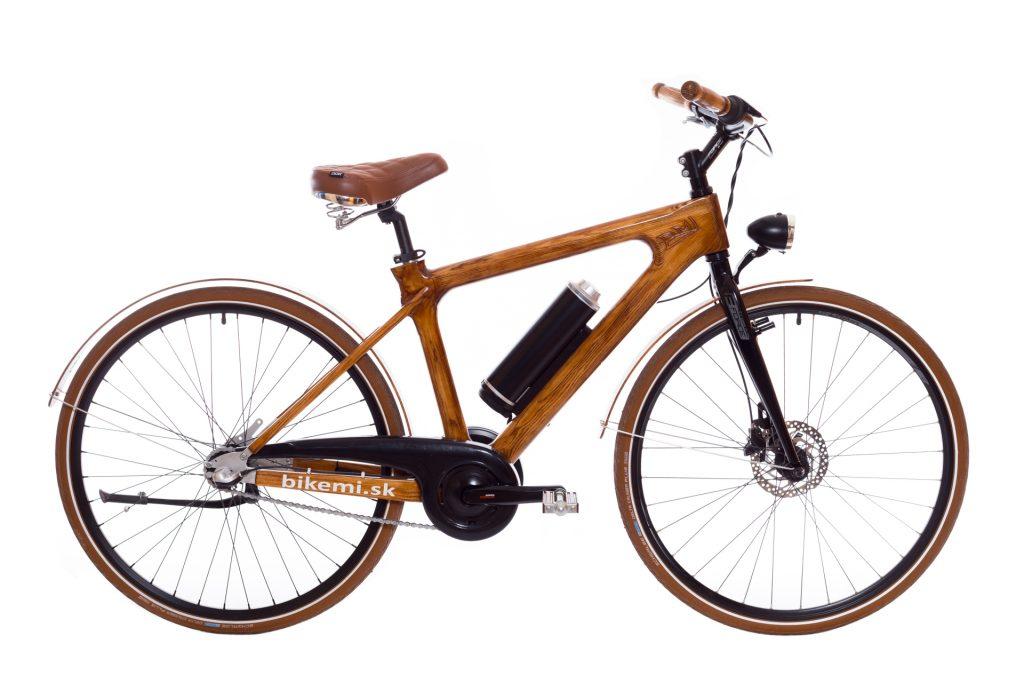 Mestský pánsky drevený elektrický bicykel BIKEMI Wooden Gentleman D.Brown E-Bike