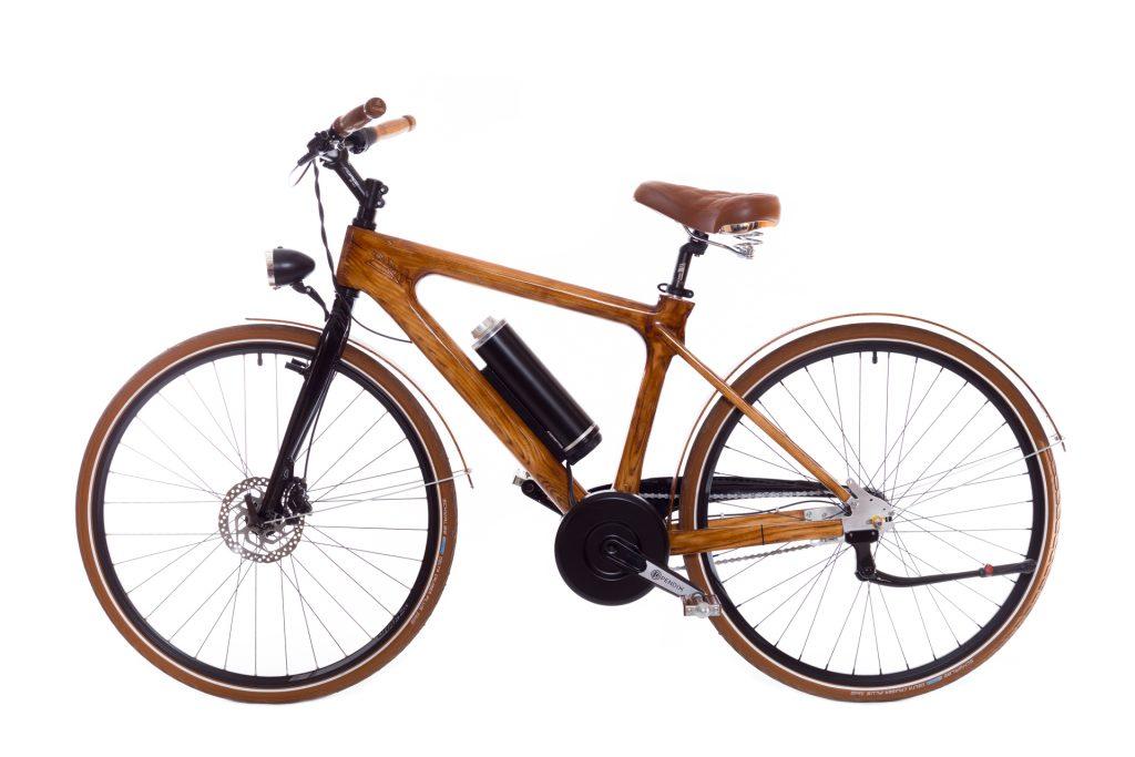 Mestský pánsky drevený elektrický bicykel BIKEMI Wooden Gentleman D.Brown E-Bike detail 1