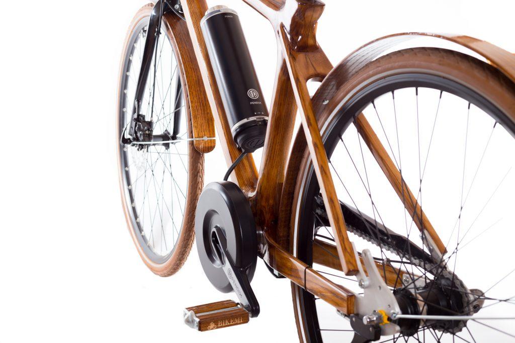 Mestský pánsky drevený elektrický bicykel BIKEMI Wooden Gentleman D.Brown E-Bike detail 2